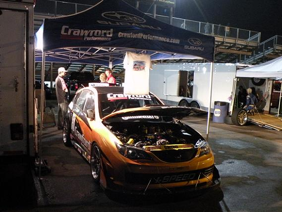 Crawford Performance's Subaru WRX STi, just before turning a blistering 1:02 lap with Tarzan Yamada behind the wheel.