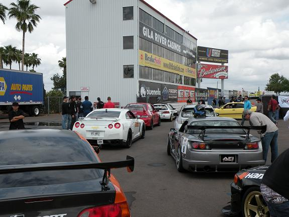 Tuner Shooout entrants lined up before the 1pm drag race competition.