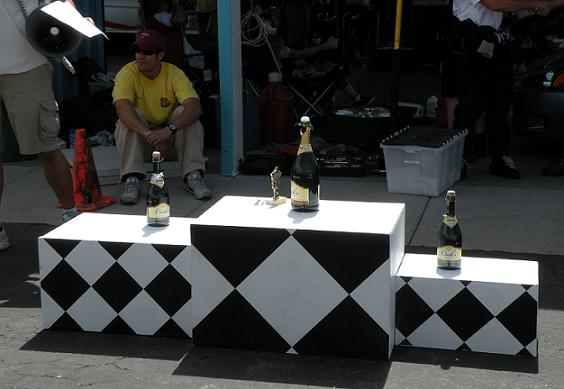 The podium awaits the Sunday sprint race winners.