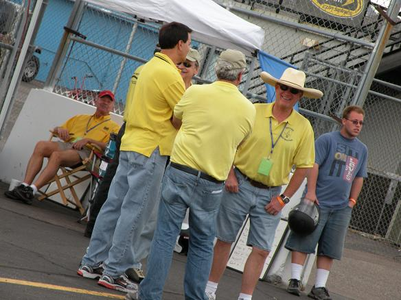 BMWCCA instructors mingling in the pit lane between run sessions.