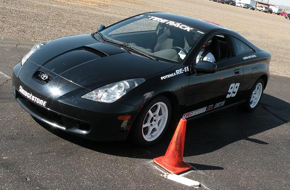 A NXE Toyota Celica lines up for a quick run, which spanned just under a full lap of Firebird East