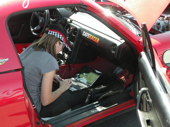 TT driver Geri Amani reviews her lap times and track data from an earlier session