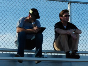 "Chris ""The Help"" Dowers and Adam Bruss enjoying the view from the grandstands."